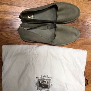 Frye Milly A Line nubuck leather flat (sage green)